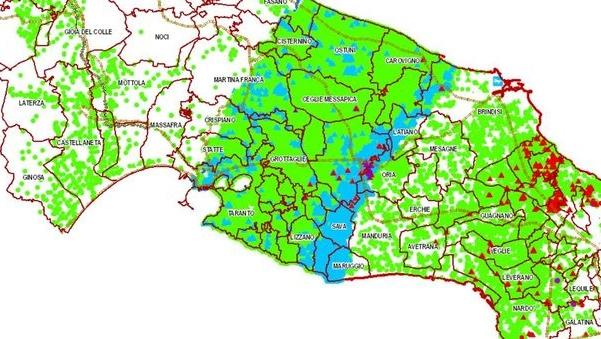 Notizia Studio Amica - Xylella,- Aggiornamento delle aree delimitate alla X. fastidiosa pauca ST53